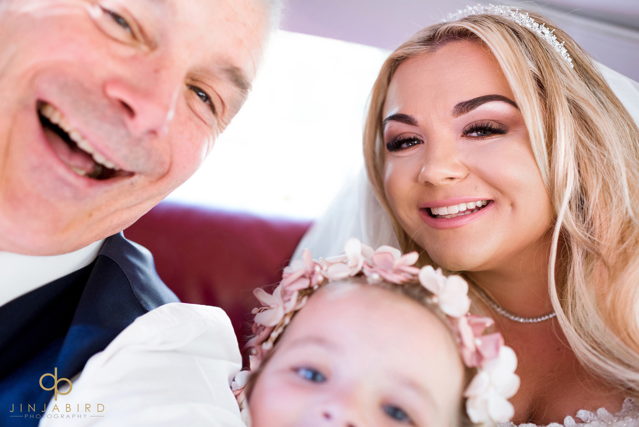selfie in wedding car