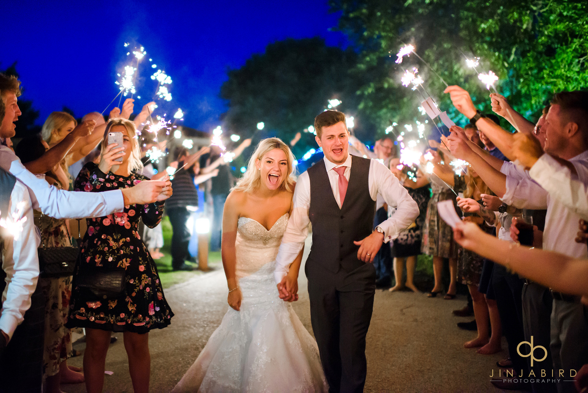 sparklers at wedding bassmead manor
