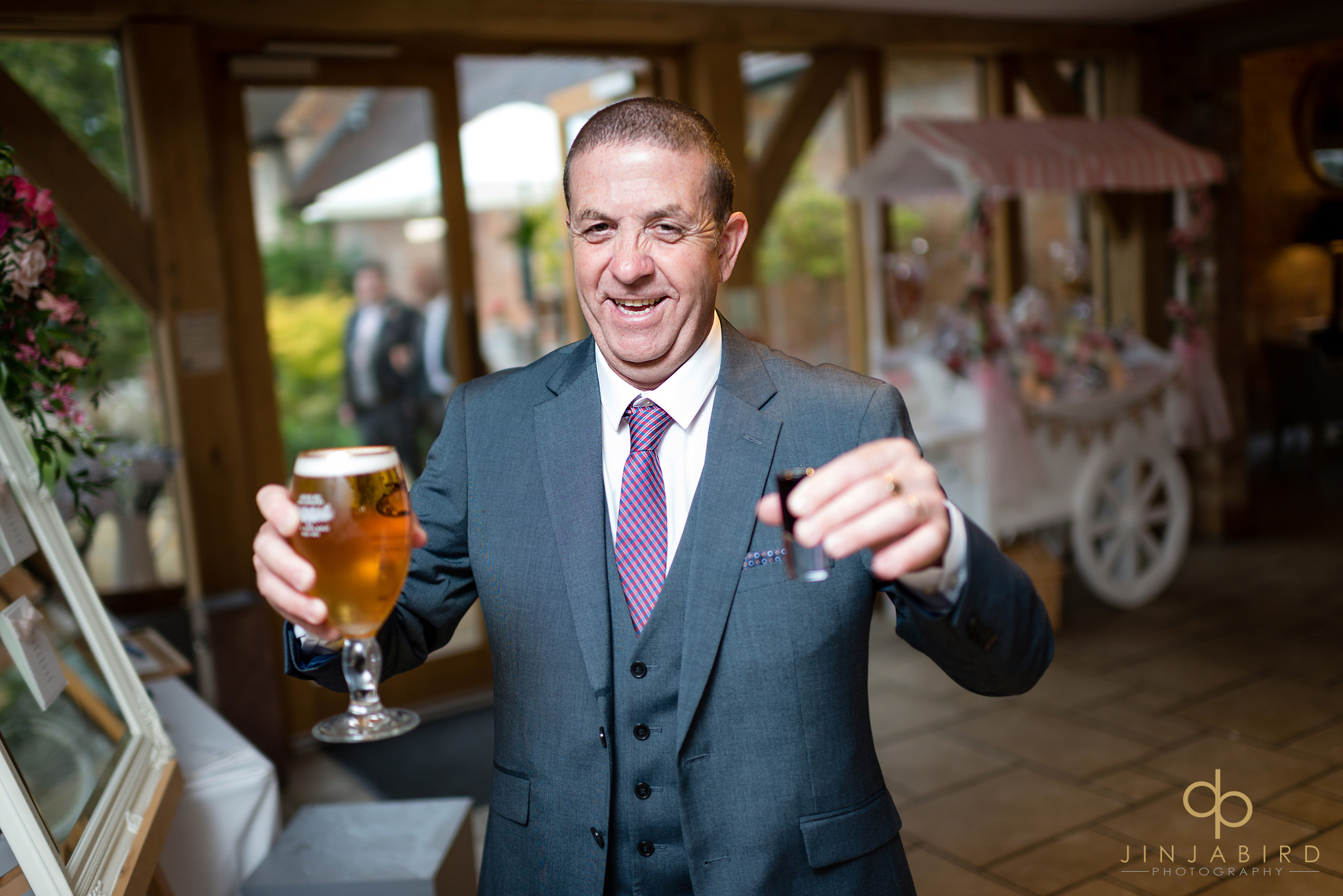 wedding guest with drink