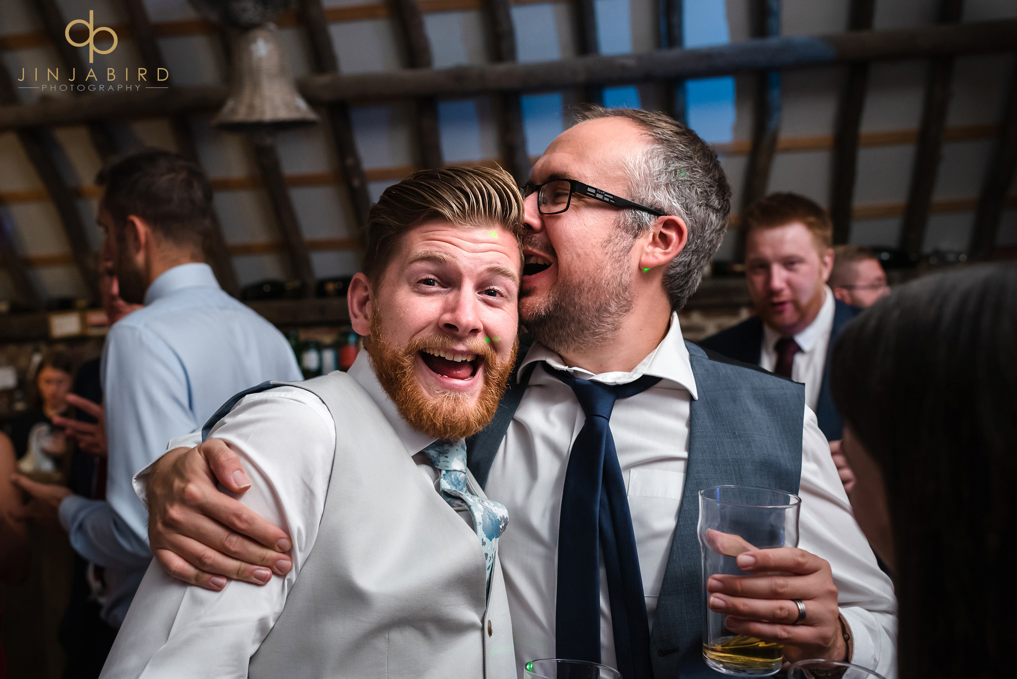 wedding guests having fun