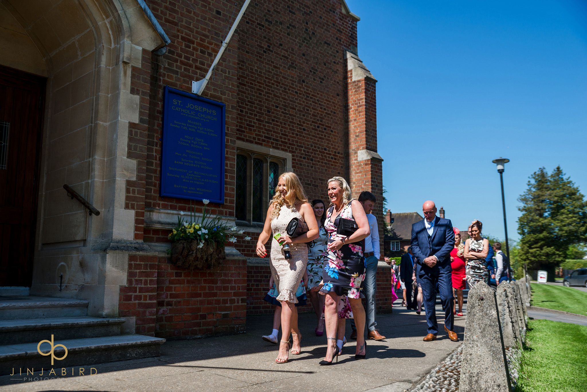 wedding guests at st-josephs church gerrards cross