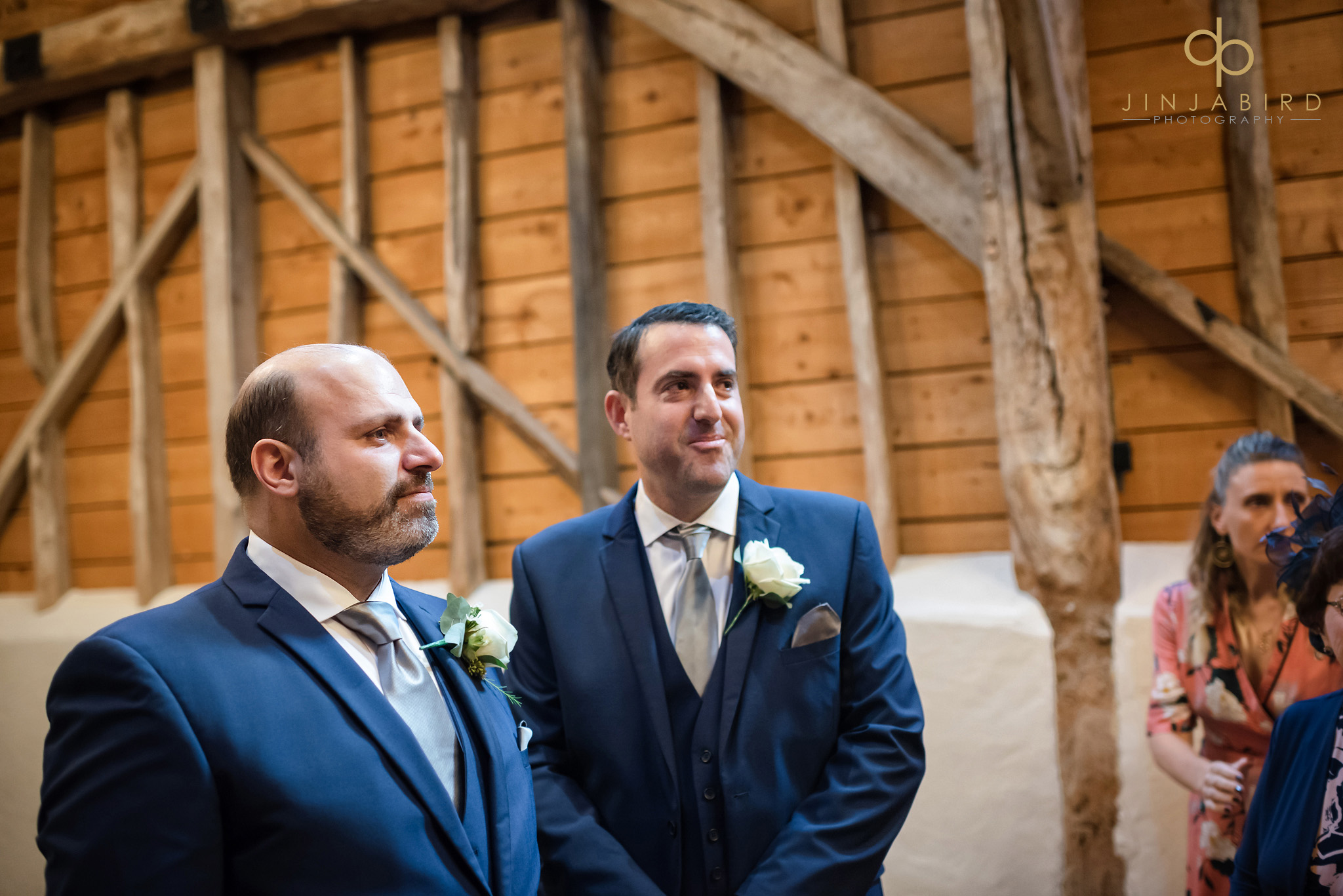 groom in rickety barn