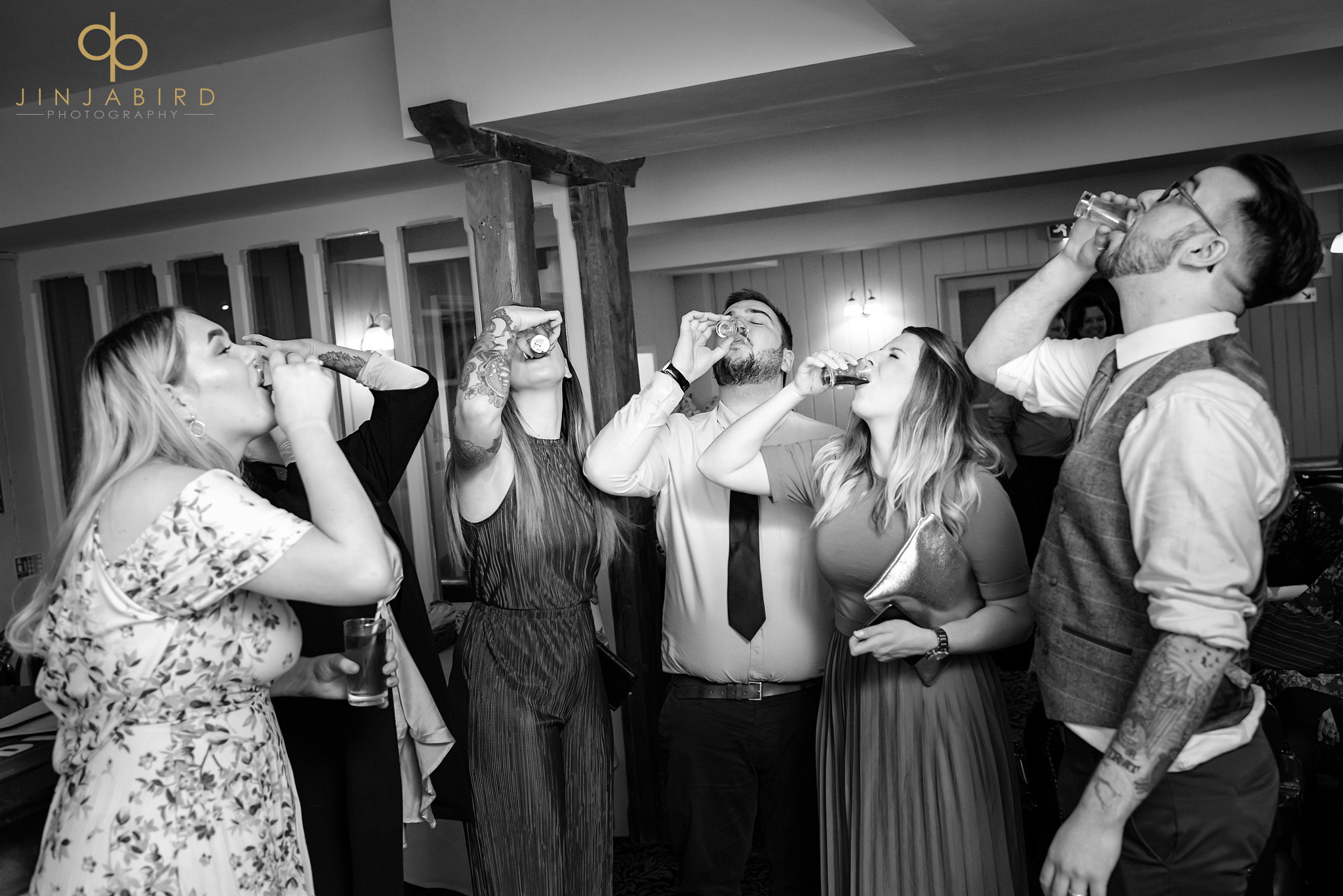 guests drinking shots