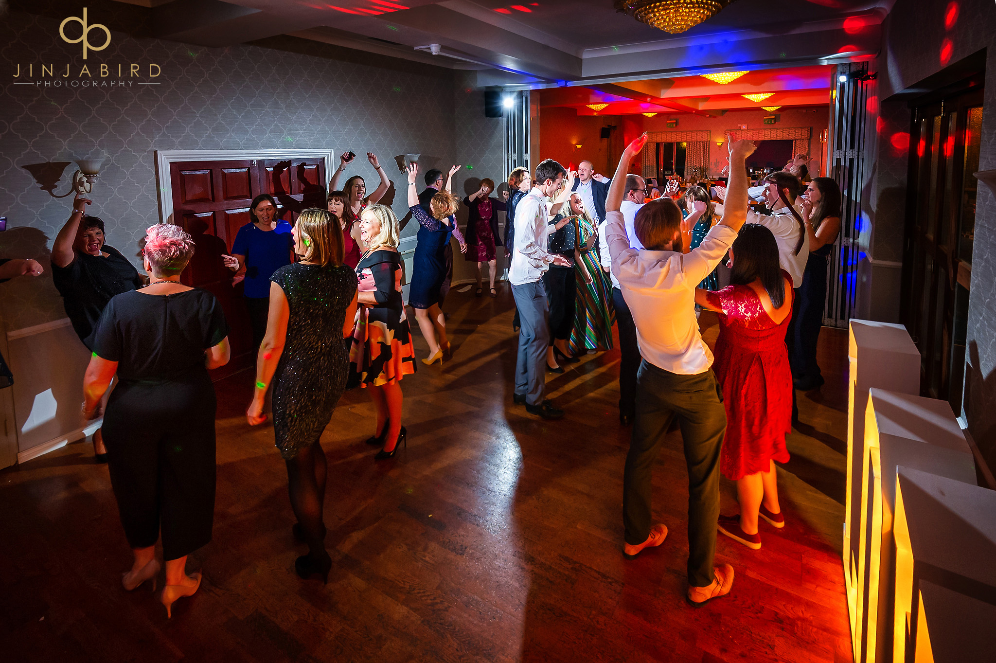wedding guests dancing normanton park hotel