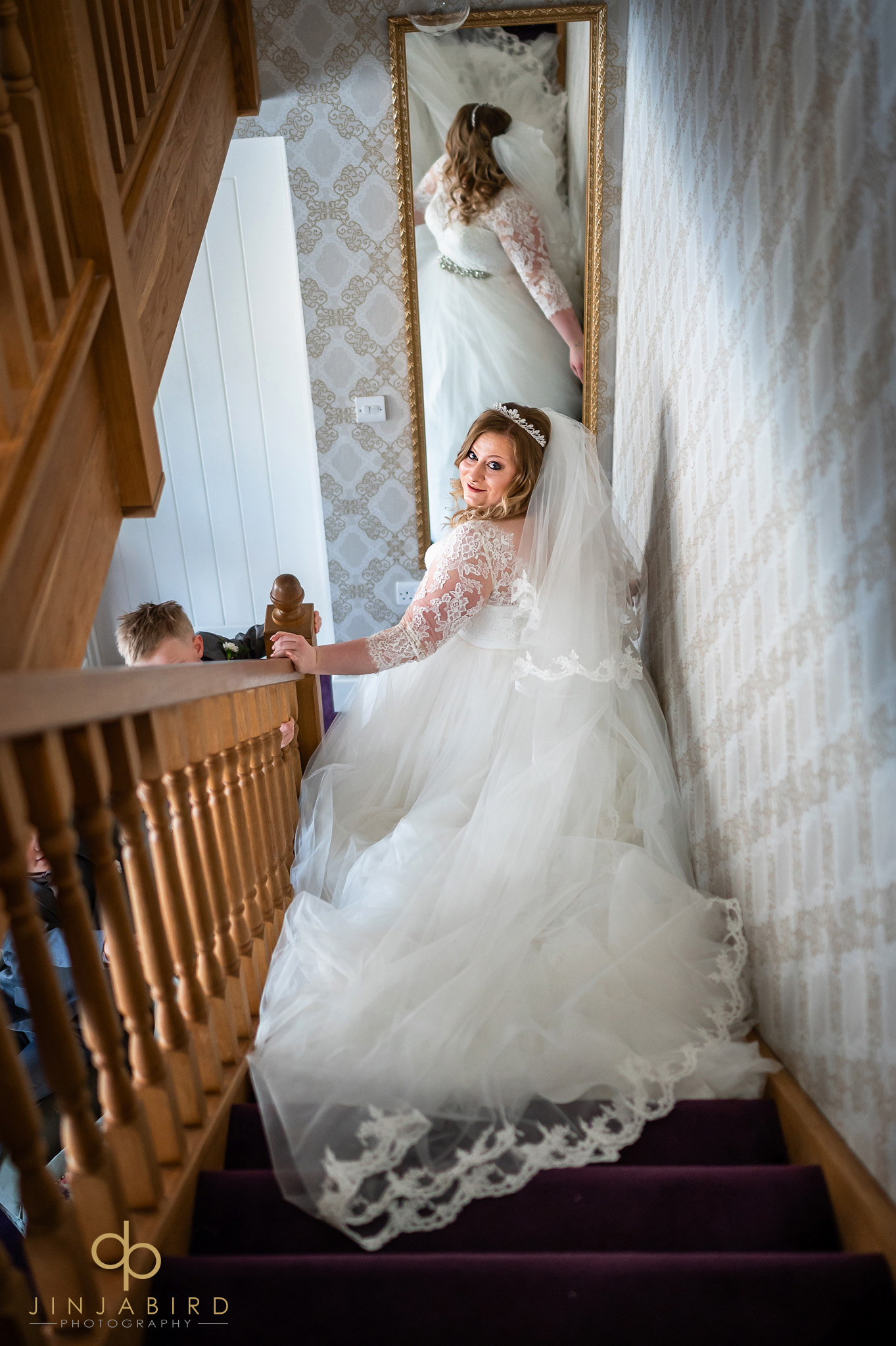 bride on stairs bassmead manor