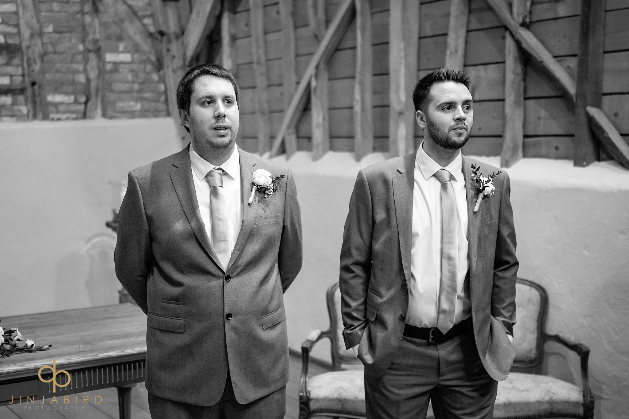 groom waiting for bride with batsman