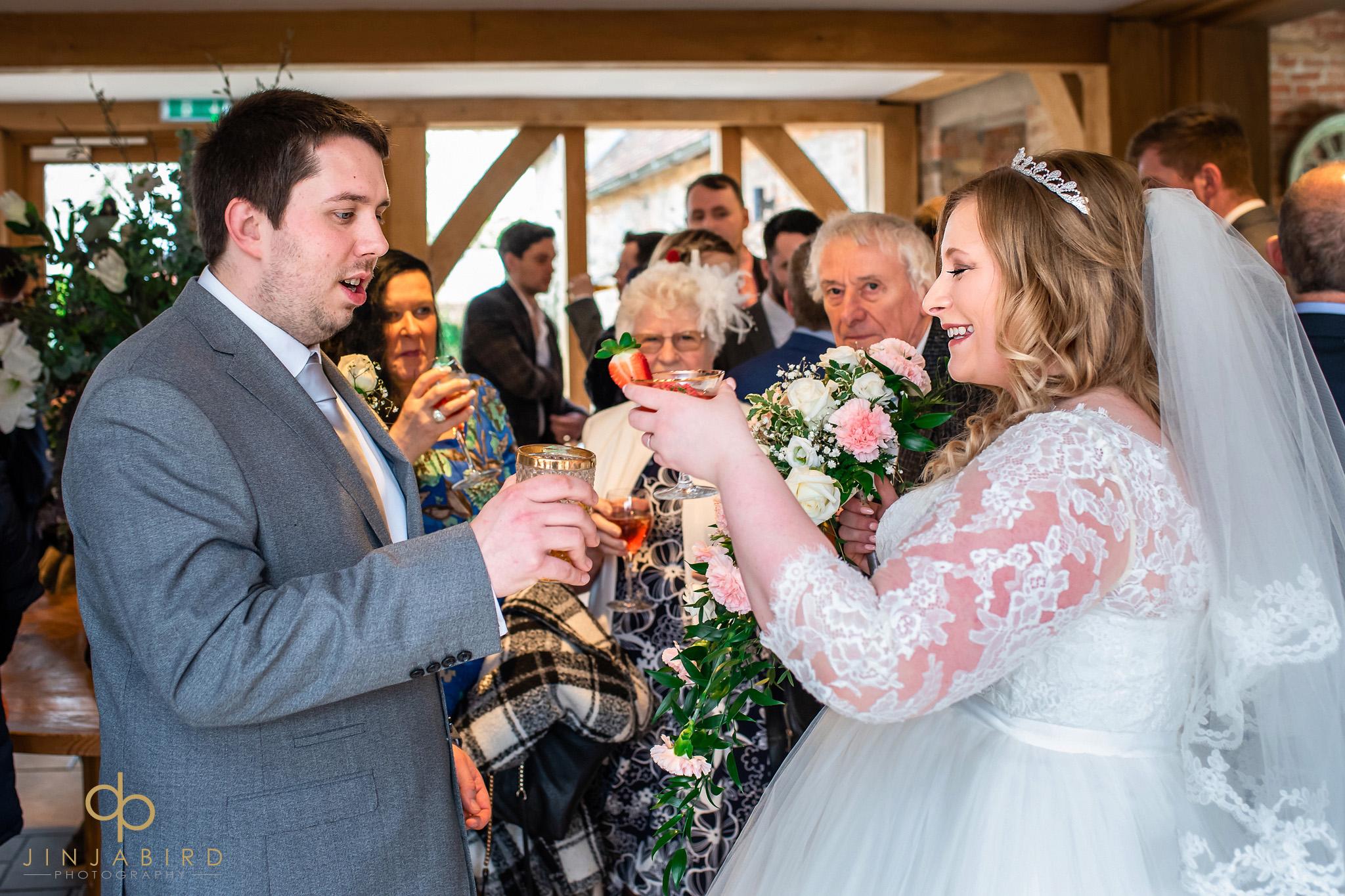 bride toasting groom