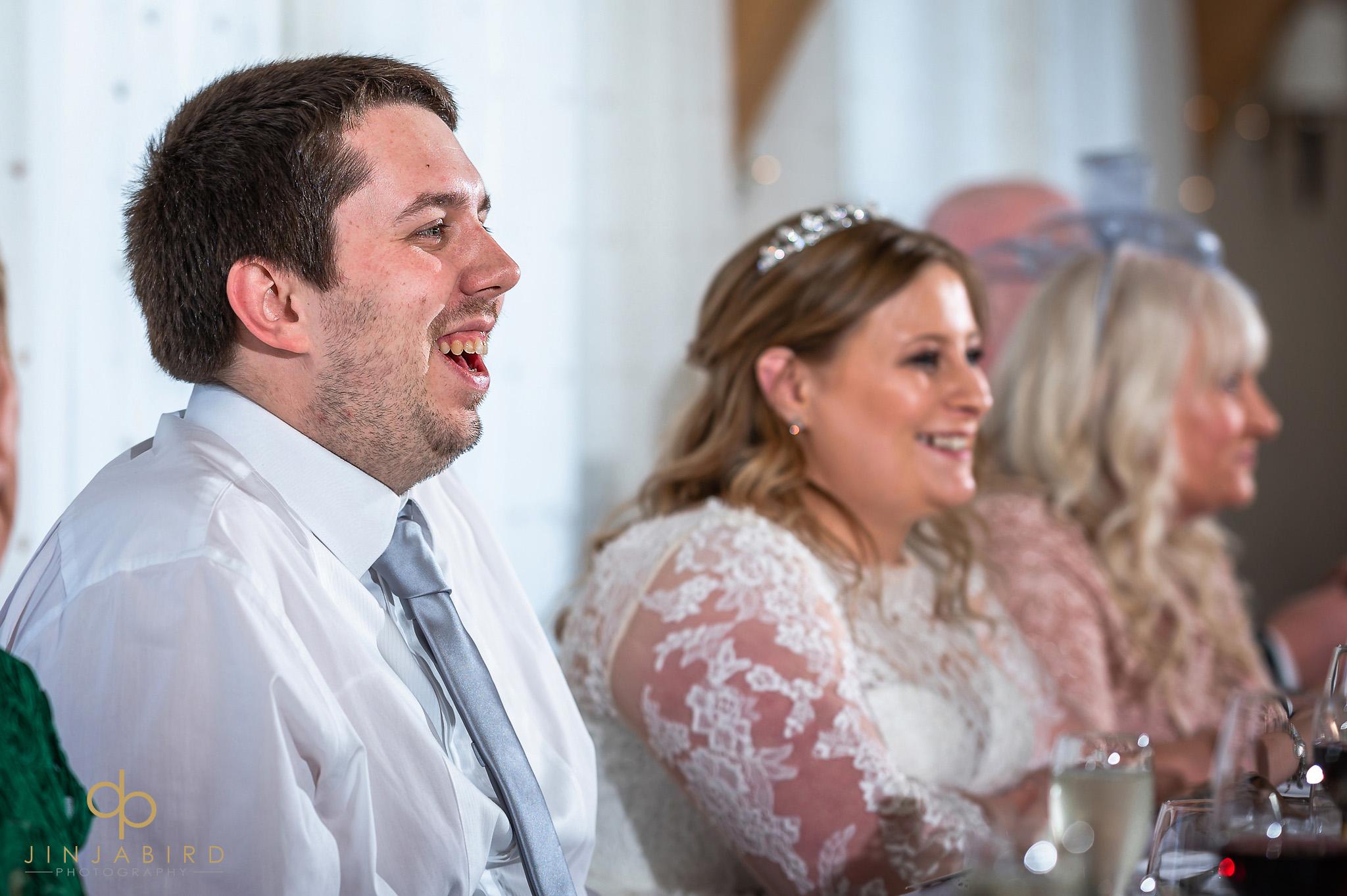 groom during wedding speeches