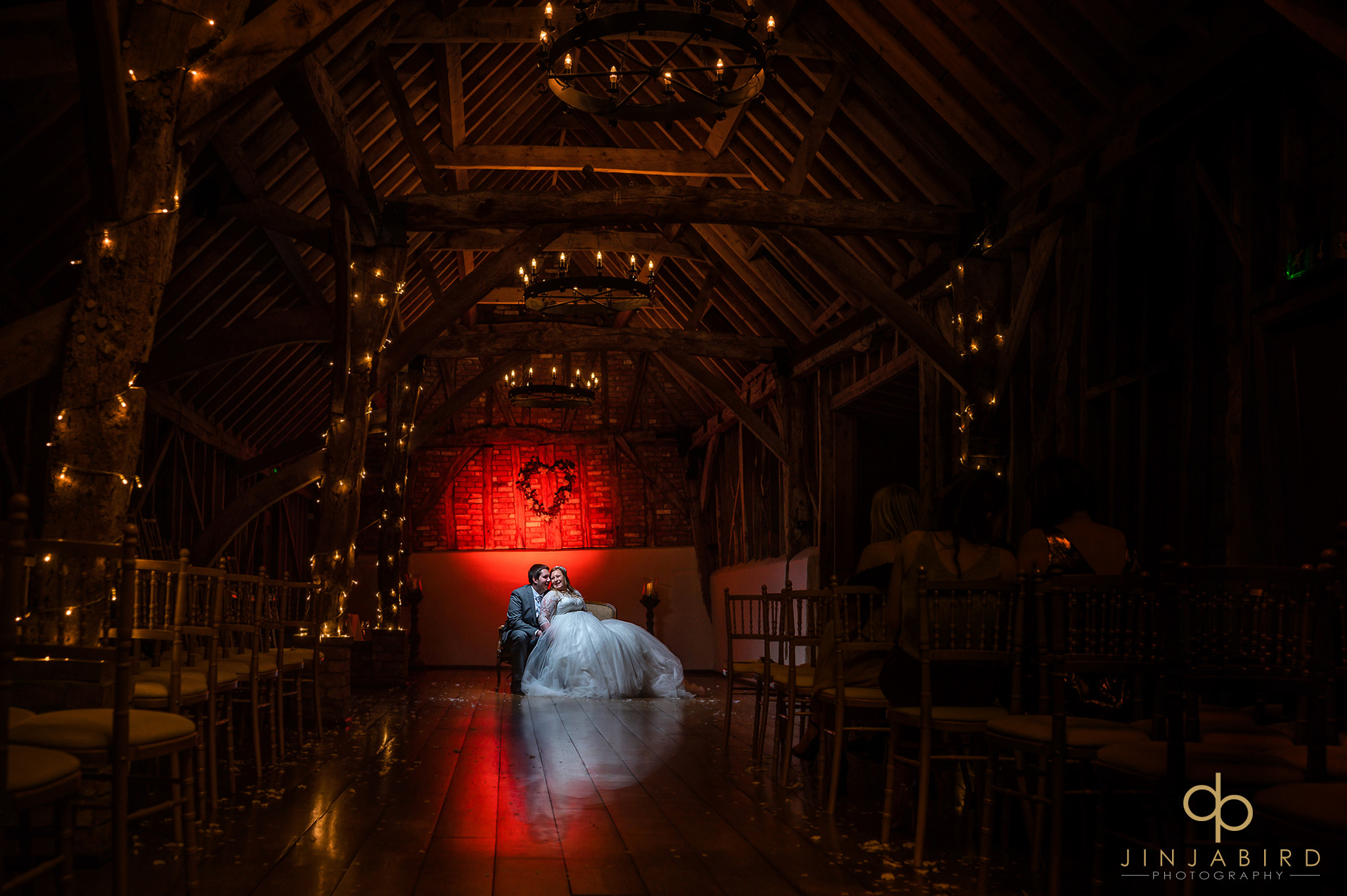 bride and groom at night in rickety barn bassmead manor
