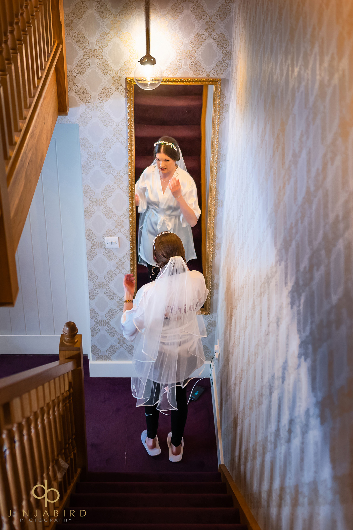 bride on stairs bassmead