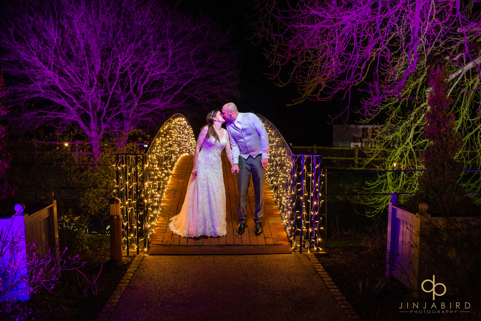 night photo on bride with bride and groom bassmead manor