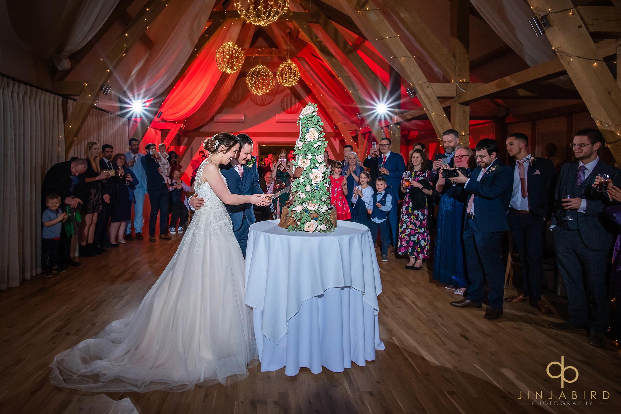 bride with groom cutting wedding cake