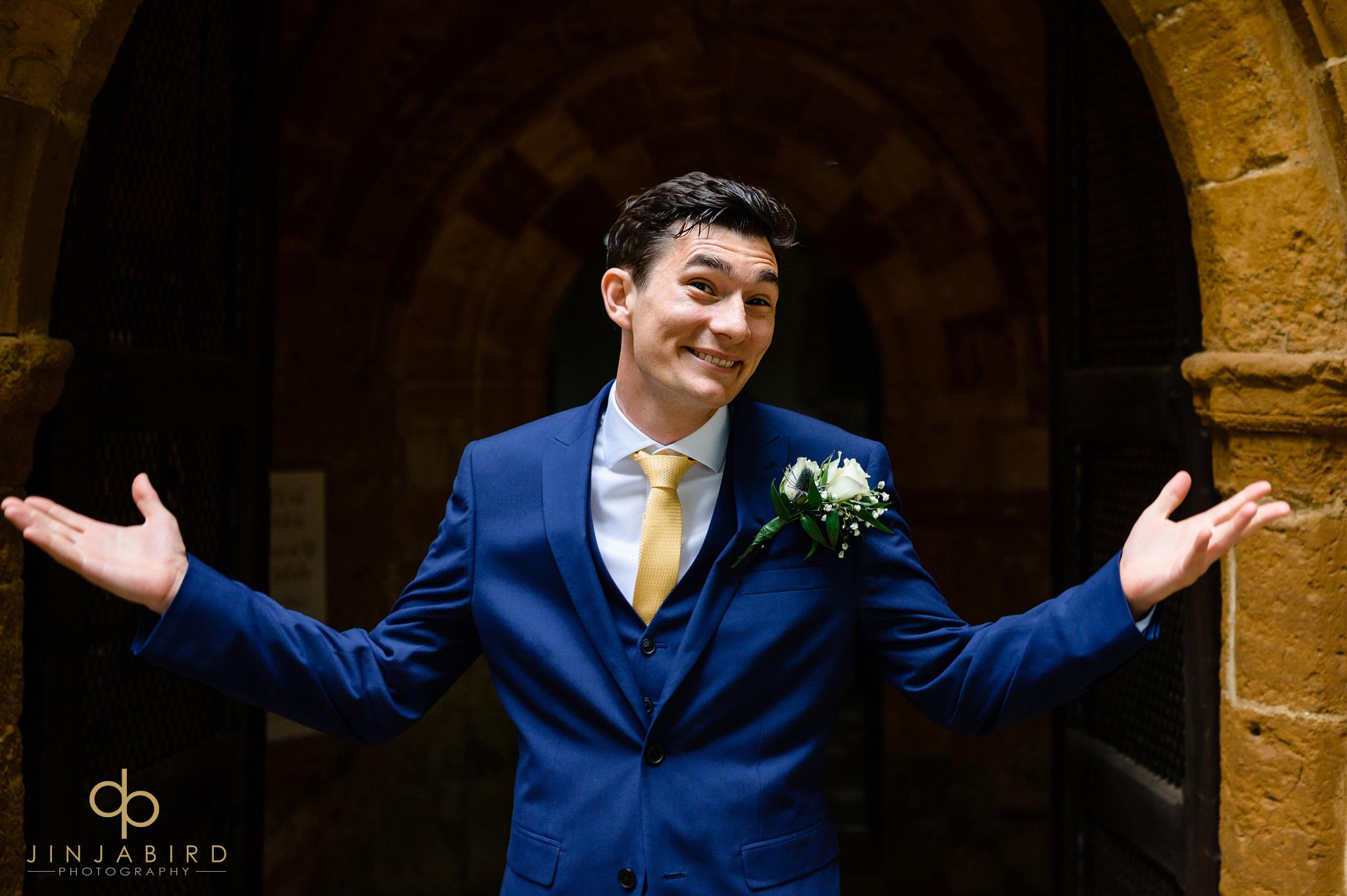 groom outside dodford church