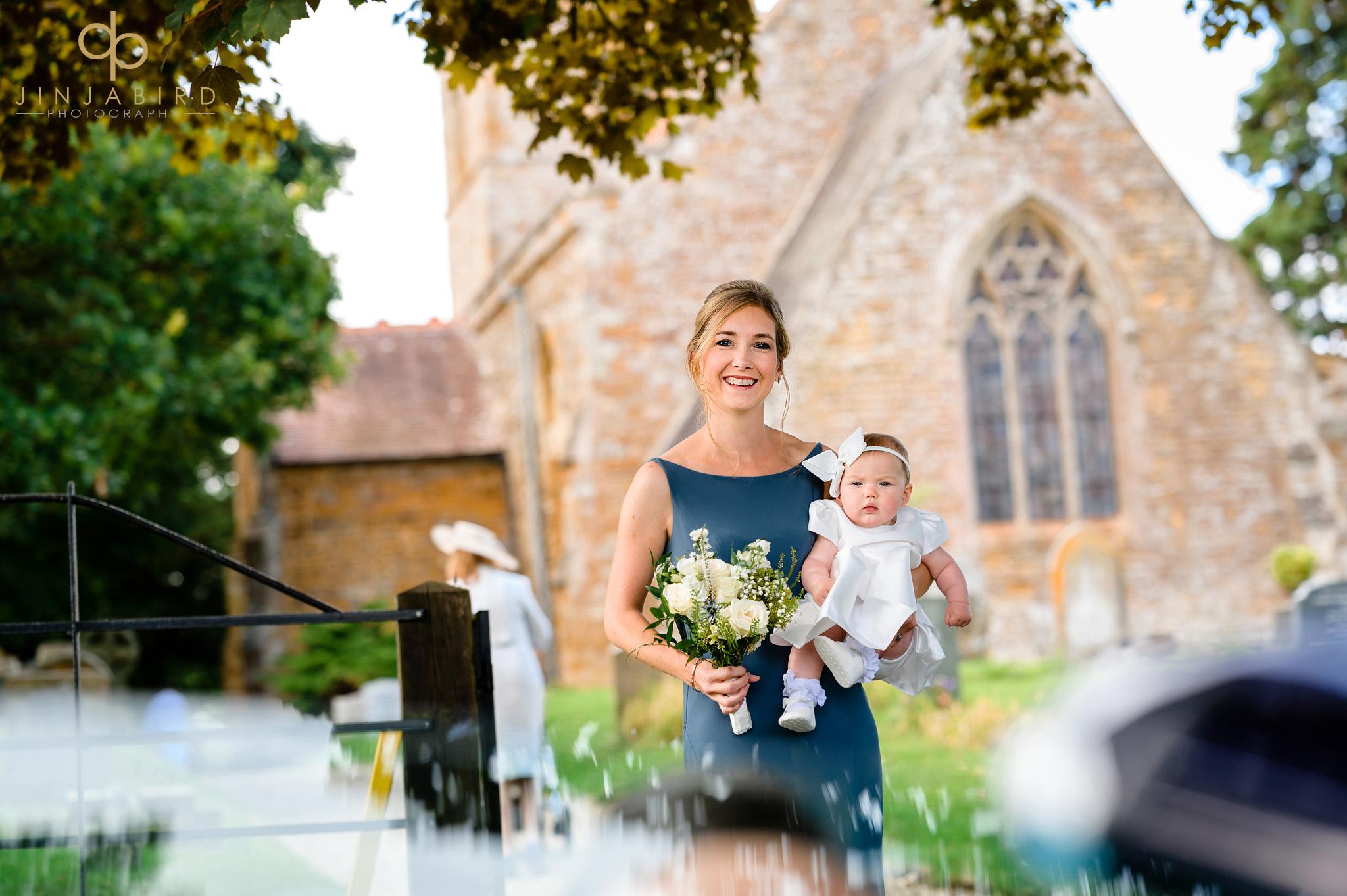 bridesmaid waiting at church