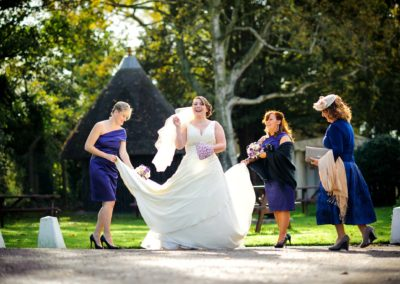 bride-with-bridesmaids-sharnbrook-mill
